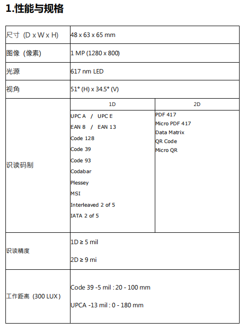 MX-52二维扫描模块性能参数